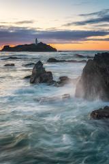 Godrevy Sunset (Rich Walker75) Tags: godrevy lighthouse lighthouses seascape seascapes ocean water waves sunset coast coastline coastal cornwall england landscape landscapes landscapephotography canon efs1585mmisusm eos eos80d nationaltrust