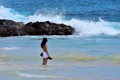 Laʻaloa Bay Beach (thomasgorman1) Tags: woman waves crashing rocks rocky lavarock hawaii island pacific surf nikon tourism