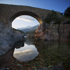Corse - Vallée du Fango (Michel Couprie) Tags: europe france corse corsica fango valley bridge pont génois reflection morning clouds composition river rivière torrent nature montagne mountain canon eos tse24mmf35l couprie hdr water eau stone pierre