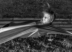 Great Day for UP (LadyBMerritt) Tags: hammock child upsidedown bw play youth fun childhood