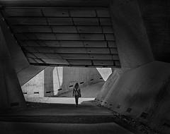 way out (heinzkren) Tags: schwarzweis blackandwhite bw sw monochrome panasonic lumix street streetphotography urban candid concrete beton durchgang exit ausgang ausweg weg way mauer wall gate woman frau schatten shadow lines architektur architecture grafenegg tunnel