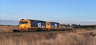 BL33+8128 lead empty grain train #7721 westbound through Maroona, destined for Dimboola, Vic.