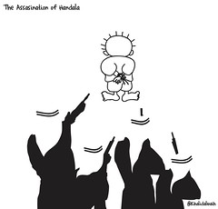 the assasination of 7andla (khalid Albaih) Tags: khartoon khalidalbaih sudan cartoon illustration palestine israel gcc qatar mbs mbz trump السودان خرطون خالد البيه كركتير