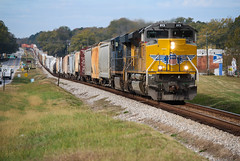 Hammer Down (weshendrix) Tags: csx abbeville subdivision atlanta division statham georgia ga train railroad railroading railfan railfanning rr freight manifest intermodal outdoor sunny weather rails emd sd70ah union pacific up diesel engine locomotive vehicle autumn
