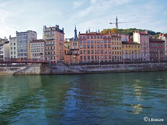 Pedestrain Bridge in Lyon (The Bop) Tags: river bridge flow pedestains apartments balconies churches towers