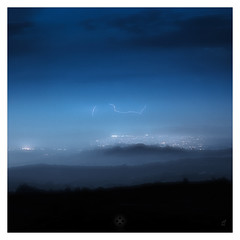 Spark (picturedevon.co.uk) Tags: dartmoor nationalpark devon lightning storm night dark blue lights minimal weather clouds landscape mist fog countryside outdoors canon wwwpicturedevoncouk