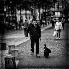 Man with Poodle (Fouquier ॐ) Tags: dog poodle blackandwhite bw antwerp belgium urban streetphotography street
