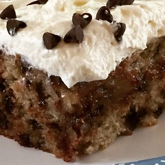 Banana Chocolate Chip Snack Cake..... (steamboatwillie33) Tags: food dessert cake homemade baked chocolatechip banana pecans 2018 kitchen snack delicious icing frosting