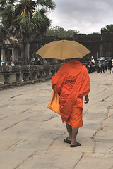 Monk with umbrella (hasor) Tags: siem reap cambodia southeastasia angkor wat temple old ancient umbrella monk buddhist buddhism