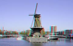 Delfshaven Rotterdam 3D (wim hoppenbrouwers) Tags: delfshaven rotterdam 3d anaglyph stereo redcyan haven harbour port molen mill d7000 nikon nikondx dx