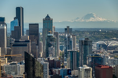 View of Seattle & Mt. Rainier from the Space Needle, Seattle Landmark, Washing