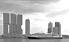 ms Rotterdam (Huib Smit) Tags: rotterdam havenstad cruiseship cruiseschip nederland netherlands holland cruiseterminal skyline skyscraper water river maas monochrome