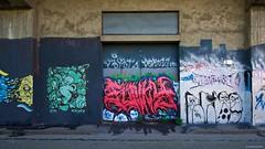 IMGP9758 Decorated Door (Claudio e Lucia Images around the world) Tags: murales graffiti streetart milano vialemonza ferrovia via pontano milanese pentax pentaxk3ii sigma sigma1020 pittura face faccia murale art viapadova padova persone