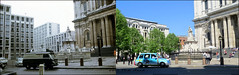 St Pauls`s `1969-2018 (roll the dice) Tags: london city ec4 squaremile old wren dome nostalgia comparison toutism tourists tourism canon changes collection surreal sad mad vanished demolished local history retro bygone streetfurniture architecture bollards england urban traffic cars uk art classic fashion people steps oldandnew pastandpresent hereandnow windows anglican bombs blitz gas mini trees dirty grim clean sixties