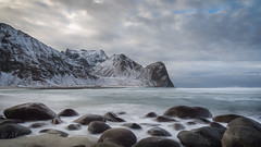Artic beach (Mika Laitinen) Tags: canon5dmarkiv europe lofoten norway norwegiansea scandinavia unstad beach cliff cloud landscape longexposure mountain nature ocean outdoors rock sea seascape shore sky water wave winter nordland no