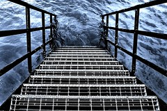 Steps to the depths.... (markwilkins64) Tags: blue contrast canon water handrails steps london riverthames