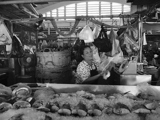 La poissonnerie, marché central, Phnom Penh, Cambodge, mai 2018. The fish shop, central market, Phnom Penh, Cambodia, May 2018.