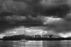 Washington NC - Waiting For The Sun (Modkuse) Tags: nikonprime nikonfx storm stormclouds stormyday clouds cloudscape monochrome nikon nikondslr 50mm 50mmf18nikkor nikond700 water river sailboat boat