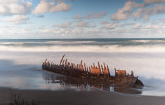 The Trinculo wreck in late afternoon light (laurie.g.w) Tags: thetrinculo trinculo wreck afternoonlight 90milebeach eastgippsland victoria waves water wash sky cloud shipwreck coast shoreline beach seascape waterscape ocean australia