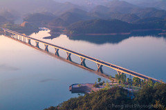 Bridge over Qiandao lake, Zhejiang China (Feng Wei Photography) Tags: view path landscape asia relax sunset landmark color tourism beauty scenery hangzhou china dusk highangleview beautyinnature zhejiang colorful serenity beautiful travel v scenic bridge qiandaolake outdoor scenicsnature horizontal peaceful serene cn