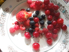 Berries (cloversun19) Tags: red morning breakfast berry food macro seed seeds strawberry sweet love raspberry cherry cranberry blueberry plate platter