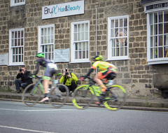 Keeping the camera steady. (barronr) Tags: england knaresborough rkabworks tourdeyorkshire yorkshire bathgatephotographer cycling cyclists race women