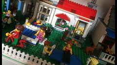 Scene of Ordinary Life (valeolligio) Tags: pool run dog cat tabletennis tennis table rollerblade scene 31069 31068 31067 family house home town modern holiday poolside modular ordinarylife life ordinary 2018 lego