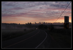 An Early Bird (PDX Bailey) Tags: headlight headlights tree morning sunrise sun pink yellow silhouette road car country rural dawn early cold awe memory awesome beautiful