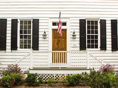 Convert Your Full Home Equity into Cash with a VA Loan (aaronsniderus) Tags: online guides eguides e service banner vibrantcolor retrorevival residentialstructure buildingexterior textured handle antique patriotism facade entrance steps doorway backgrounds starshape white brown colors wood clean oldfashioned old striped pattern traditionalculture architecture urbanscene outdoors closeup frontview usa flower porch frontstoop door window wall house builtstructure residentialdistrict flag design paint lamp blinds decor spangled style frame