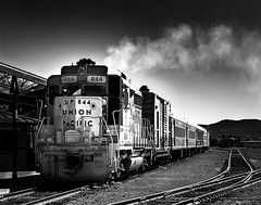 024693763367-100-Union Pacific-2-Black and White (Jim There's things half in shadow and in light) Tags: 2018 america bouldercity canon5dmarkiv may mojavedesert nevada usa nearlasvegas summer nevadasouthernrailroadmuseum train blackandwhite