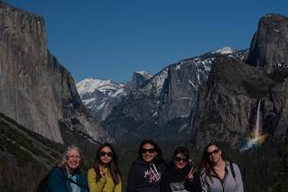 Family at Tunnel VIew with a rainbow in Bridalveil Falls