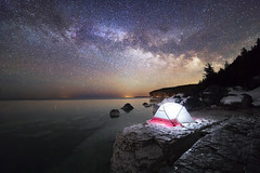 Sound Asleep (andrewpmorse) Tags: milkyway night nightlights nightsky stars starscape camping tent longexposure landscape landscapes brucepeninsula brucepeninsulanationalpark lake lakehuron ontario canada canon backcountry edge rokinon14mmf28 canon5dmarkiv 5div sleep