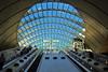 London Underground Canary Wharf Station, docklands, Isle of Dogs, London E14. (edk7) Tags: olympusomdem5 edk7 2018 uk england london londone14 londonboroughoftowerhamlets isleofdogs docklands canarywharf transportforlondon londonunderground londonundergroundcanarywharfstation jubileeline canopy sky glass escalator people person