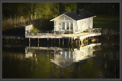 Secluded(Sweden) (williamwalton001) Tags: sweden pentaxart trees texture tones water woodlands building reflections colourimage