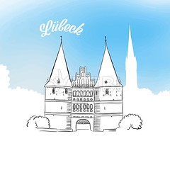 Sketch of Holstentor in Lubeck (Hebstreits) Tags: architecture background blue book building card city drawing europe european gate german germany greeting hanseatic historic holstentor illustration landmark lubeck old outline postcard poster retro schleswigholstein sketch summer tourism tourist tower travel unesco vector vintage