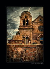 St. Francis of Assisi in Santa Fe (rosacruzjl) Tags: hdr life 1800s building clay door dwelling entrance exit historical history old southwest window brick church mission black blue earthtone catholic christian christianity god holy spiritual worship lifestyle beautiful destinations majestic locations picturesque tourism travel usa santafe newmexico clouds sky