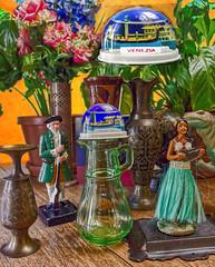 STILL LIFE 2B VENEZIA (sadler0) Tags: huladancer hulagirl stilllife green yellow orange vase flowers plants antiques venice roger sadler