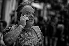 Brooklyn (Frank Fullard) Tags: frankfullard fullard dublin monochrome blackandwhite blanc noir candid street portrait phone mobile listening talking irish ireland eye concentration builder face beard unshaven shave hair stubble brooklyn