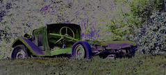 Tire needs air. (wildrosetn39) Tags: abandoned antique auto automotive abstract manipulation