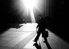 Mornin' (marcin baran) Tags: bw bnw mono monochrome black blackandwhite morning light person street streetphotography streetphoto man hat shadow ray sun sunshine sunlight walk walking pov fuju fujifilm fujix100 x100t katowice poland polska urban