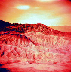 Zabrieski Point (Redscale) (EmperorNorton47) Tags: deathvalleynationalpark california photo film analog spring redscale desert badlands squareformat holga120n unesco worldheritagesite nps landscape