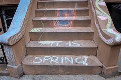 it is spring (FlorianMilz) Tags: newyork us brooklyn art street stairs spring painting chalk color kids drawing