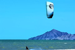 Wind power (thomasgorman1) Tags: surfing kitesurfing kiteboarding beach windy sea shore mountains sky outdoors sports recreation nikon kitesurfer kiteboarder sand hightide cortez mx mexico baja