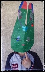CAT SCHOOL EAUZE KIDS MASKS (mc1984) Tags: eauze cat school kids mc1984 creditphotosylvainlambert masque carton cardboard rabbit bear color acrylique atelier artiste peinture lapins fun enfants art streetartmagnac