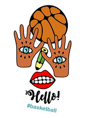 I love basketball (eka panova) Tags: orange brown afro emblem play outdoor summer game basketball eye girl woman female face white background vintage retro style modern creative sign symbol label tag trendy pattern monster lips pencil hand arm psychedelic abstract happy greeting card graphic art vector illustration design isolated poster print textured drawn line black doodle