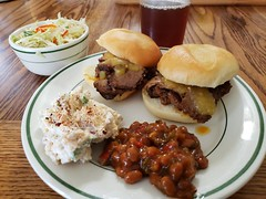 smoked brisket with habanero sauce plus sides of beans and slaw and potato salad (jeffreyw) Tags: mariesharps habanerosauce citrus beans slaw potatosalad orangepulp sammiches sandwiches lunch dinner