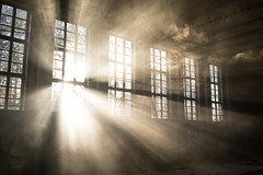 Pure Light (--Conrad-N--) Tags: old golden lost light low window glas sony sunset sun abandoned gym dust beams place