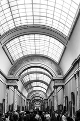 Glass roof tunnel (Janne Räkköläinen) Tags: paris pariisi glass roof louvre museum people art architecture old travel tourist blackwhite bnw bw building canon6d canonphotography canonphotographing ef24105l france visitparis 2018 spring