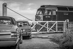 1970s today - (deltic17) Tags: classic classicvehicles classiccar ford fordcortina fordgranada heritage mk3cortina mk1granada sweeney class47 diesel ecml eastcoastmainline brush sulzer 1970s blackwhite monochrome canon 5dmk3