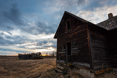 Sunset on a Lonely Place 2 (Matt 23998) Tags: wood spring decay old farmhouse rural star clouds sunset ghosttown westerncanada abandoned evening ruins weathered farmyard alberta dilapidated sky canada farmstead moss deserted farm